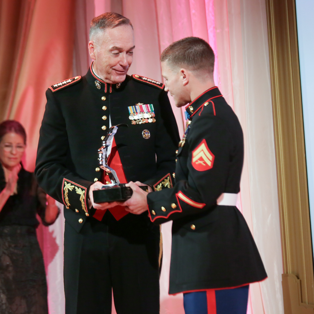 Corporal Kyle Carpenter with Prize, 2015