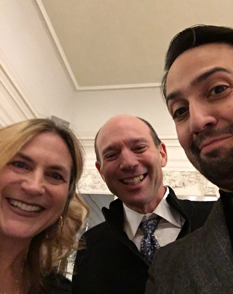 Lin-Manuel Miranda with Rubenstein and wife, 2019